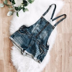 Dollhouse Lightwash Denim Overall Shorts